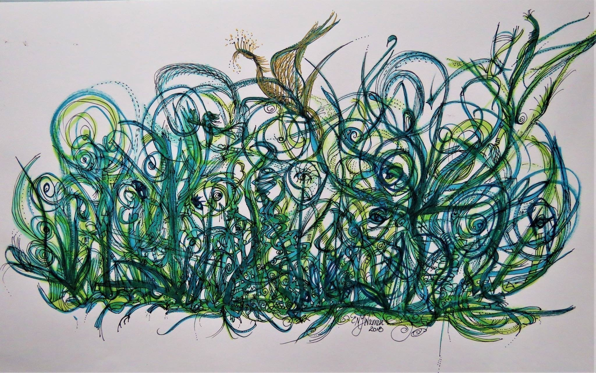 Phoenix-blue-gree-pen-ink-marker-drawing-Eithne-Warren-https://insideheartspace.com